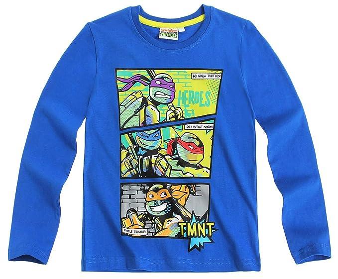 Camiseta de manga larga para niño, diseño de Las Tortugas Ninja, color azul de 6 a 12 años
