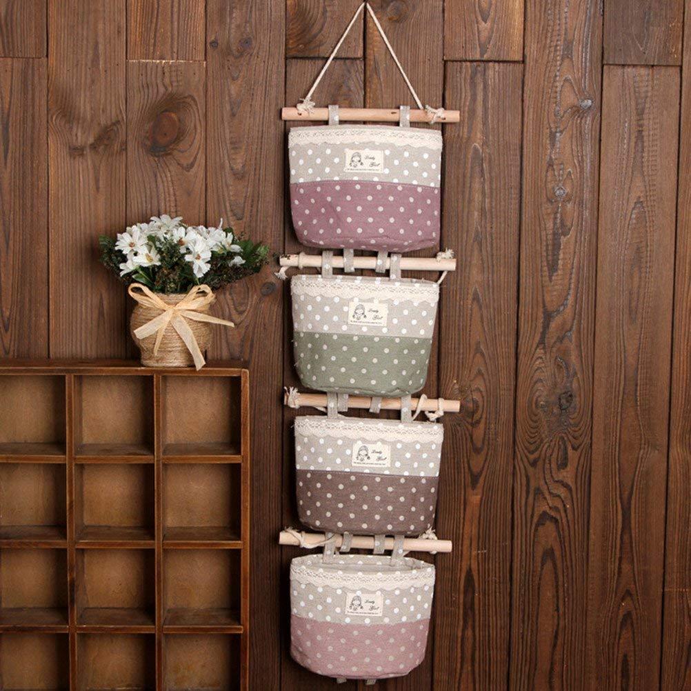 EXQULEG Baumwollgewebe Wandtür Hängende Aufbewahrungsbeutel, Hängeorganizer, Multifunktionale Wohnzimmer Schlafzimmer Hängenden Tasche, 4Taschen