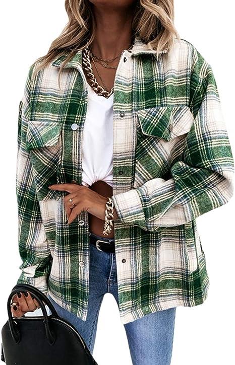 AvoDovA Womens Casual Lapel Plaid Button Short Pocketed Shacket Long Sleeve Shirt Jacket Green, L