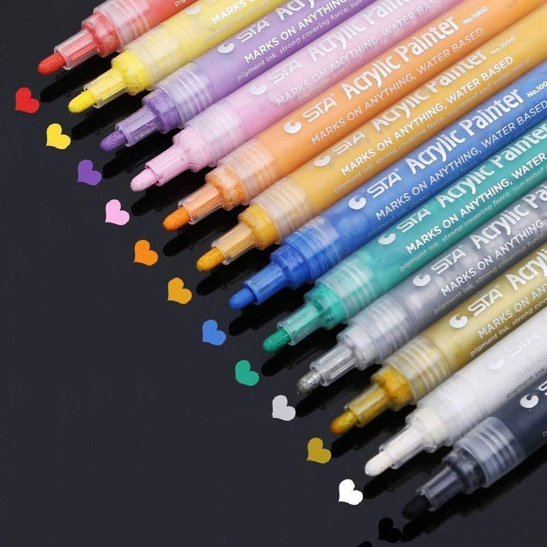 12 Stück Acrylfarbe Stift Markierungsstift Permanent Painting Pen Acrylmaler
