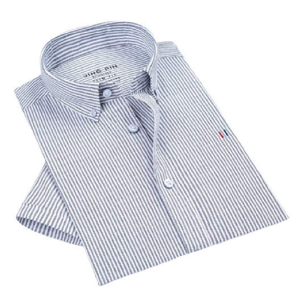 Comaba Mens Fitted Button-Collar Cotton Stripe Short Sleeve Oxford Shirt