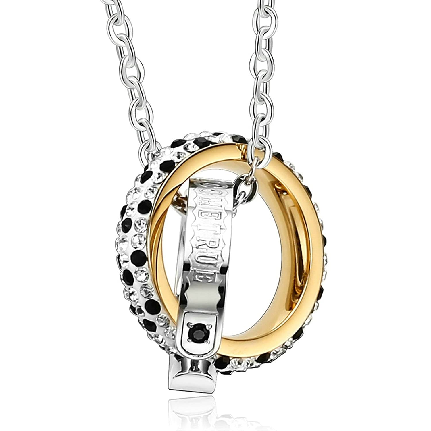 Aooaz Womens Ladies Silver Pendant Necklace Love Interlock Round Retro CZ Necklace Charm Wedding Promise