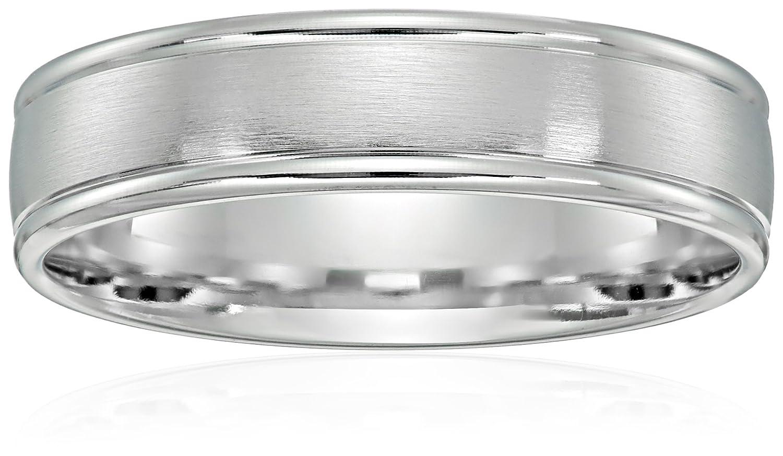 2f64c5e4c24 Men s 10k Gold Comfort-Fit Round Edge Plain Wedding Band with Satin Center  (6 mm)