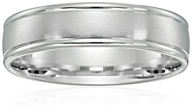 10k White Gold 6mm Comfort Fit Wedding Band With Satin Center And High Polish Round