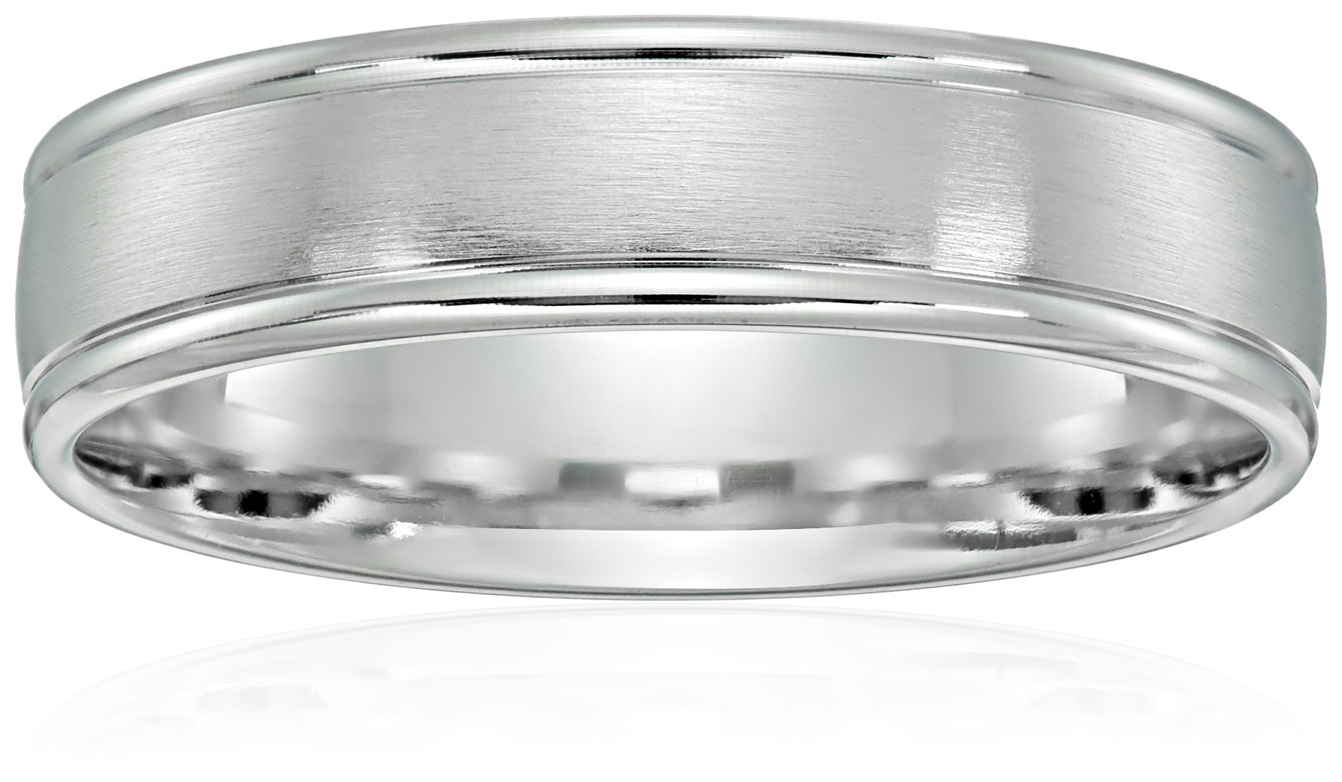 10k White Gold 6mm Comfort-Fit Wedding Band with Satin Center and High Polish Round Edges, Size 9