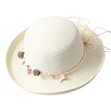 776ea455554 Leisial Flower Sun Hat Ladies Women Summer Beach Straw Hat Sun Protection  UPF 50+ Cap