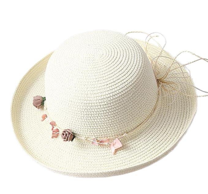 ... Estate Topper Donne Cappello di Paglia Conchiglia Fiori Ghirlanda  Cappello del Bacino Protezione Solare Tesa Larga Berretto da Spiaggia  Cappello da Sole ... dda630d5b2aa