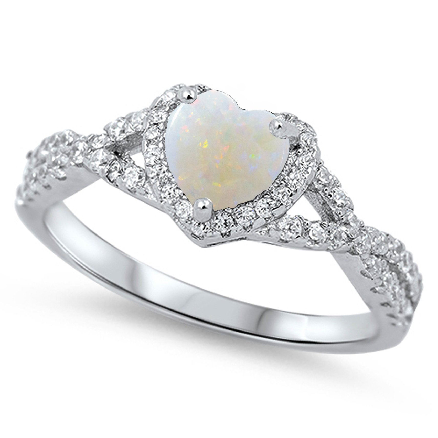 925 Sterling Silver Cabochon Natural Genuine White Opal Heart Halo Promise Ring Size 12