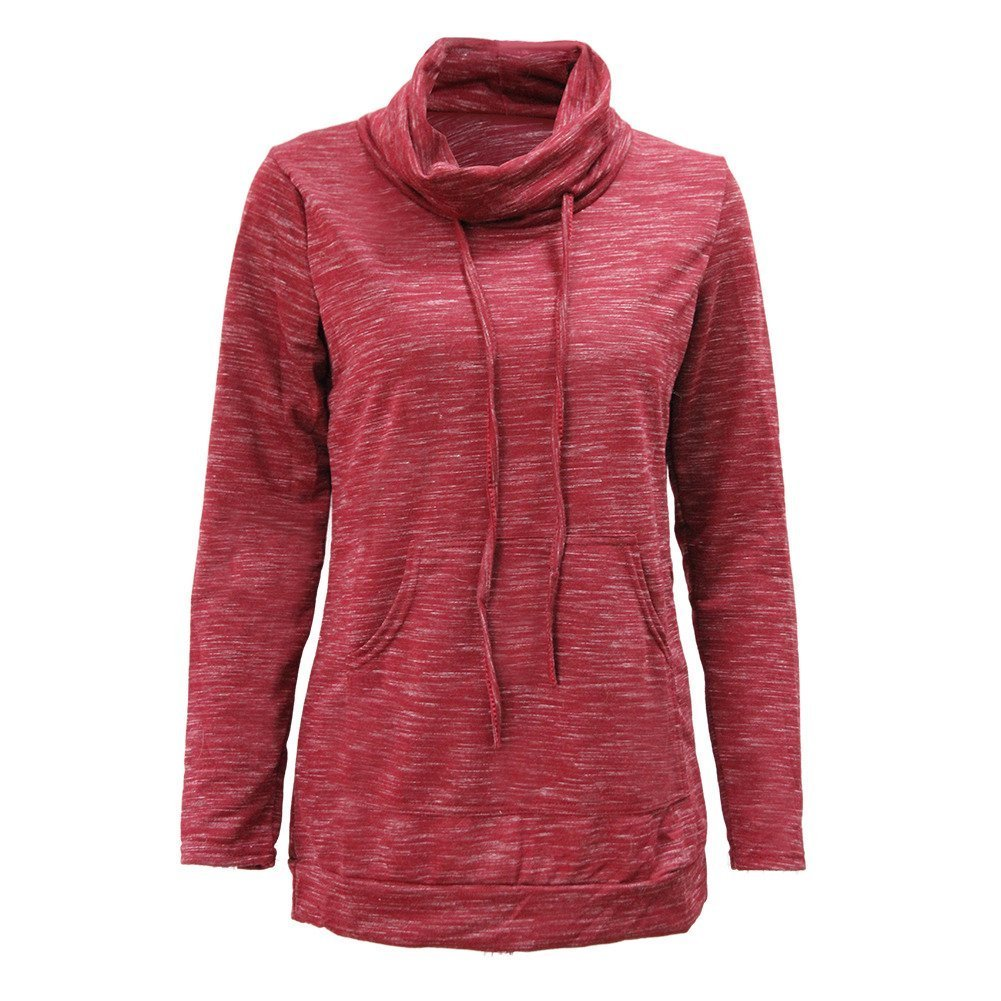 BISHEN Womens Long Sleeve Cowl Neck Burnout Pullover Sweaters With Kangaroo Pockets