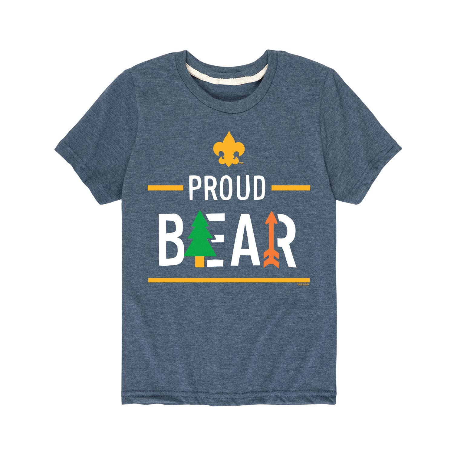 Boy Scouts of America Icon Bear Cub Scout - Youth Short Sleeve Tee Heather Blue by Instant Message