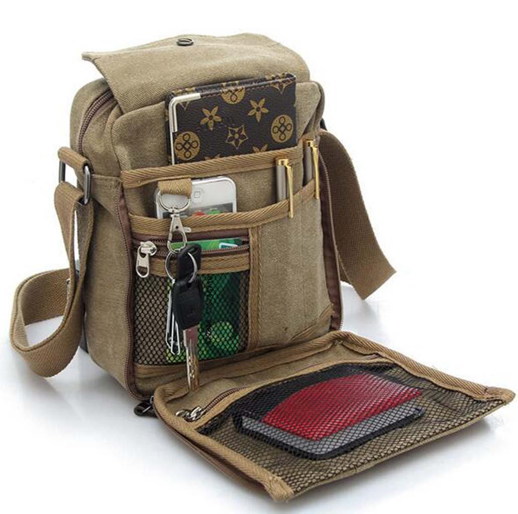 4effbb0826 Unisex Vintage Canvas Shoulder Messenger Satchel School Bag Khaki   Amazon.in  Sports