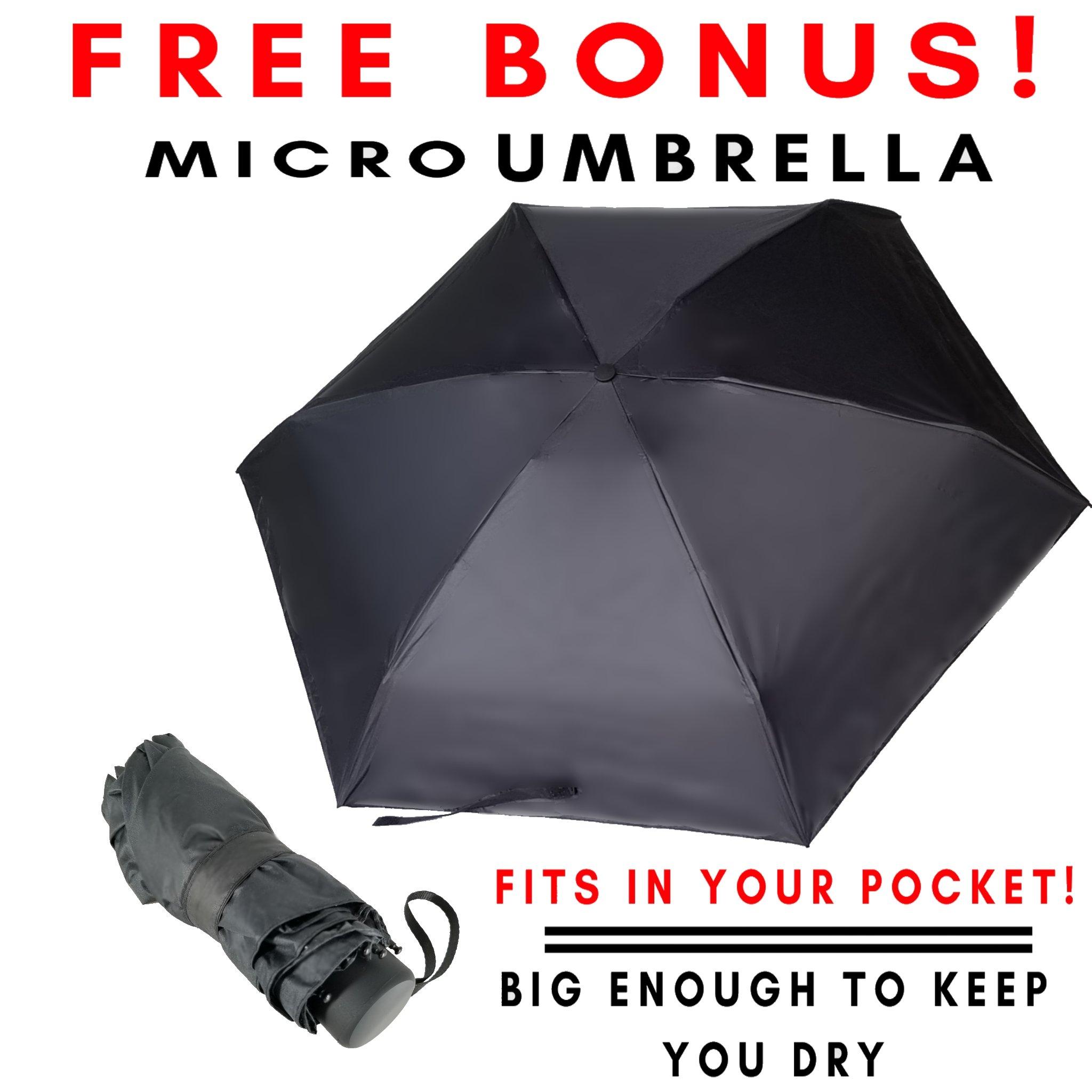 Compact Windproof Travel Umbrella -FREE Mini Black Umbrella- Katzendaügs 2pc Black by Katzendaügs Umbrella Co. (Image #5)