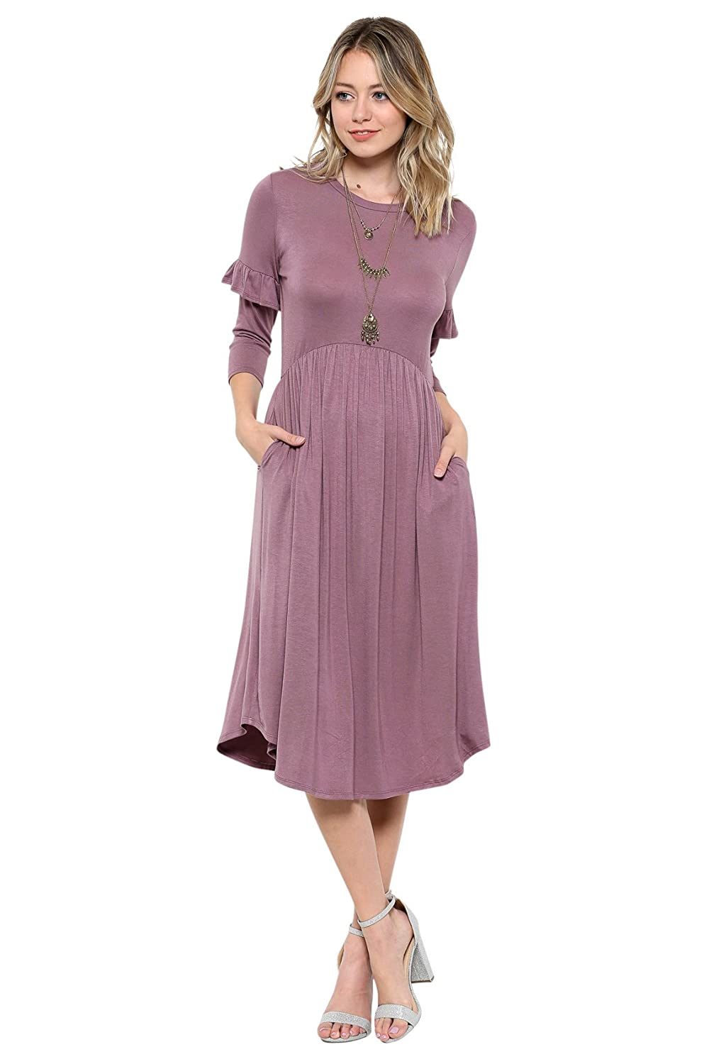 6c0e64f8ad Modest midi-length dress with gathered elastic waist, ruffled sleeves &  pockets! Fabric is super soft & stretchy so it's comfortable & stylish at  the same ...