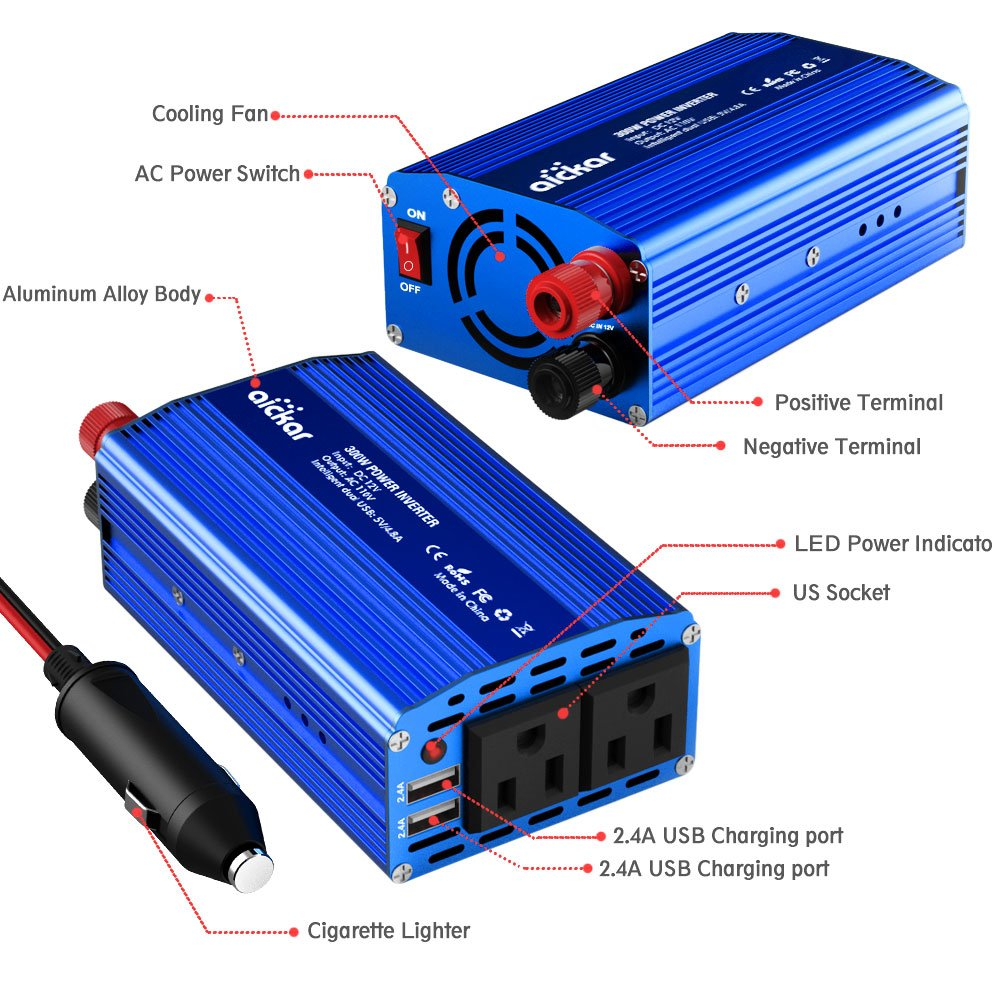 Amazon aickar 300w car power inverter dc 12v to ac 110v dual amazon aickar 300w car power inverter dc 12v to ac 110v dual ac outlets dual 24a24w usb ports with smart fan built in blue car electronics sciox Images