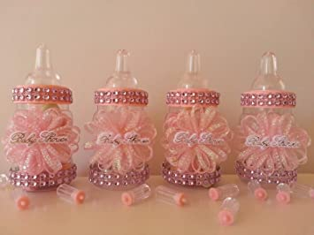 Amazon.com: 12 Rosa biberones rellenables bebé ducha regalos ...