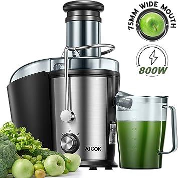 Entsafter Gemüse und Obst, AICOK 75MM Einfüllöffnung 800W