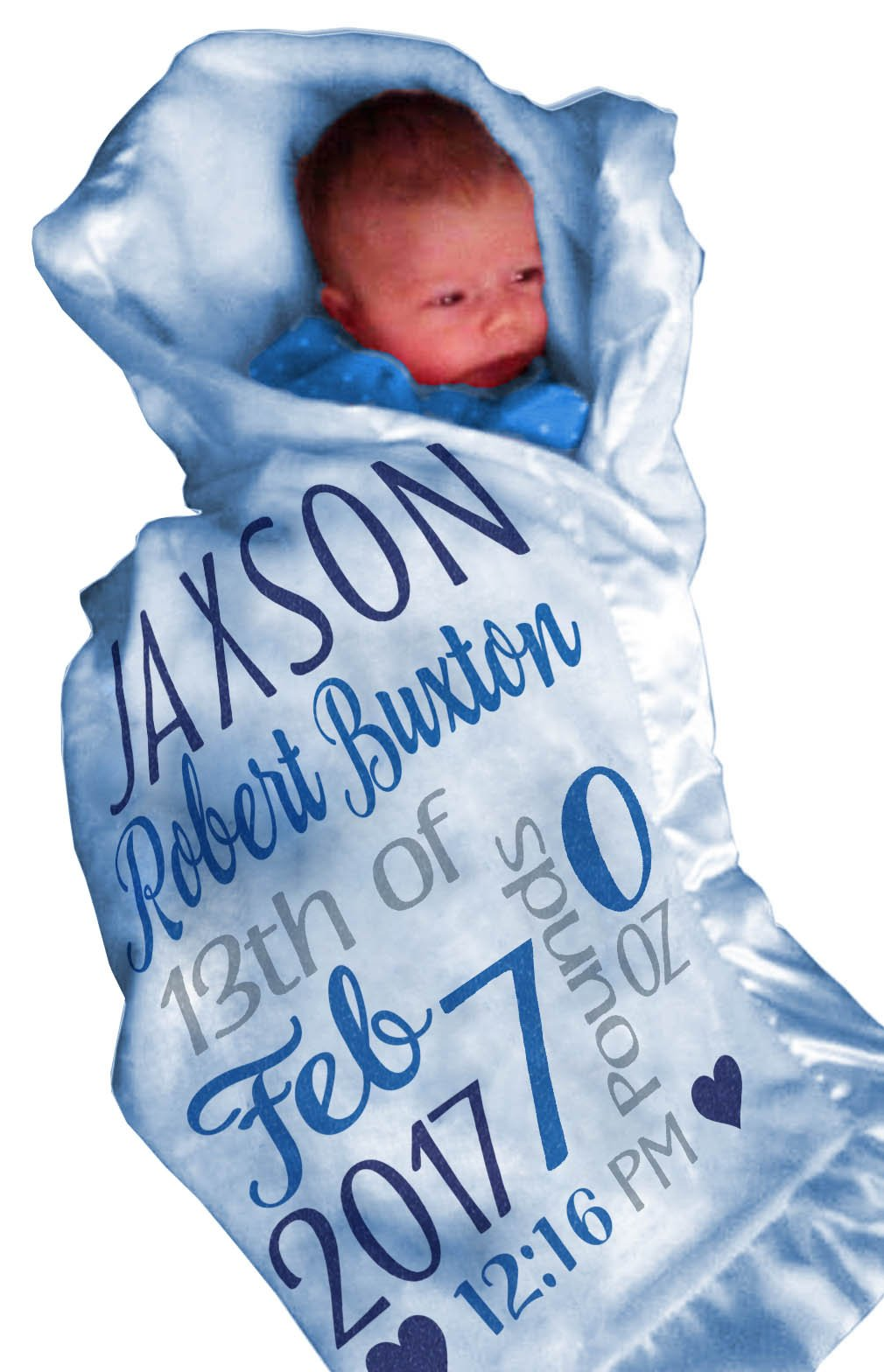 Personalized Baby Blankets for Boys (30x40, BLUE Micro Plush Fleece Satin Edge Trim) Custom With Baby's Name Special Gifts for Newborn Baby Room Nursery Christening or Baptism