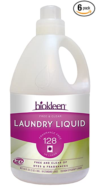 Biokleen Laundry Liquid, Free & Clear, 64 oz - 128 HE Loads/64 Standard Loads (Pack of 6)