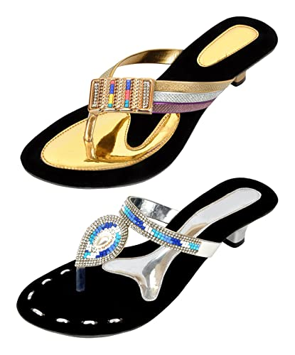15249b9df23bbc Altek Stylish Golden and Silver Fashion Sandals Pack of - 2 Pairs (Size - 3