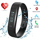 Weton Fitness Tracker Activity Armband mit Herz Rate Monitor Bluetooth 4.0 Wasserdicht Smart Armband Wristband Schrittzähler mit Sleep Monitor Kalorienzähler Schritt Tracker für Android und iPhone