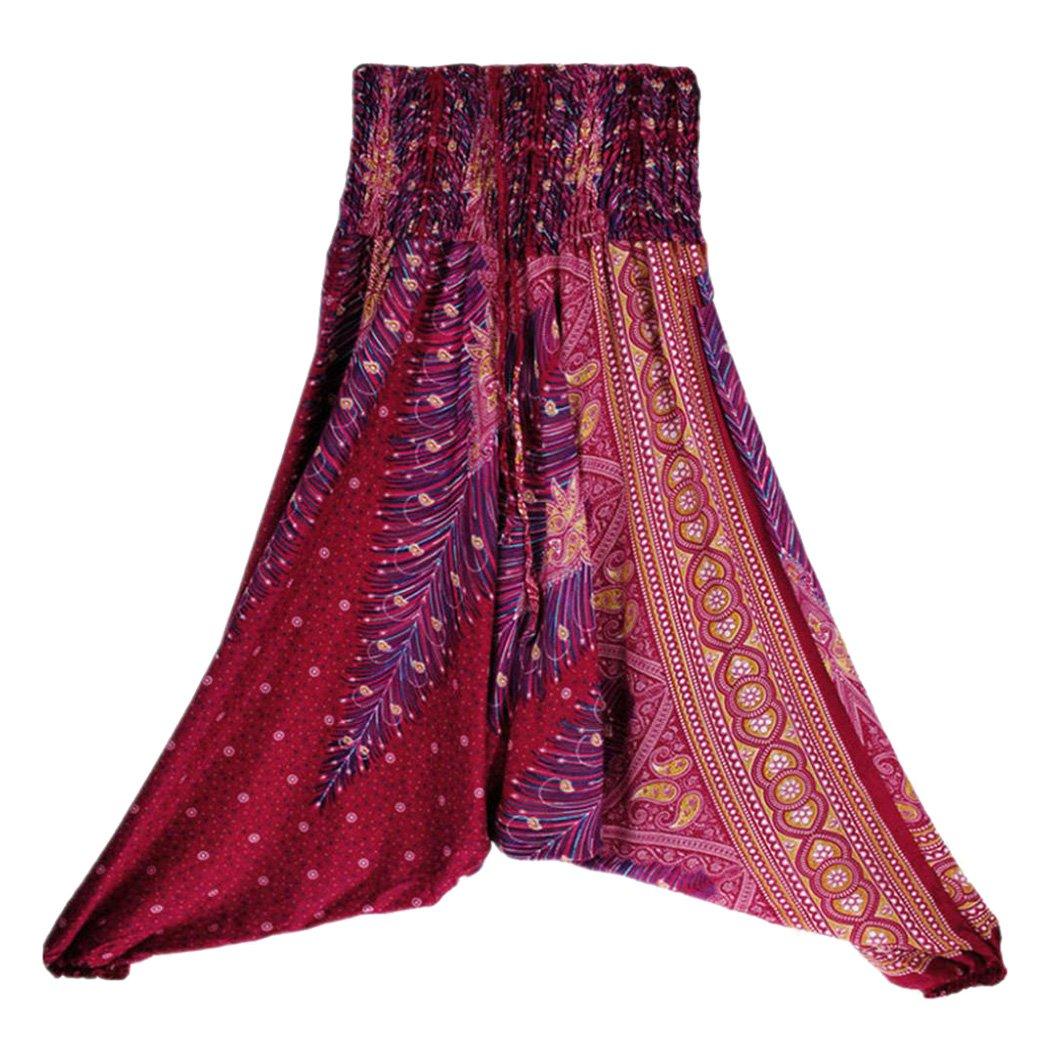 Fuibo Yoga Trousers Women 【Women Casual Summer Loose Print Boho Yoga Trousers】【Baggy Jumpsuit Harem Pants Jumpsuits Multi-Functional】For Sport Yoga Trousers Women Black)