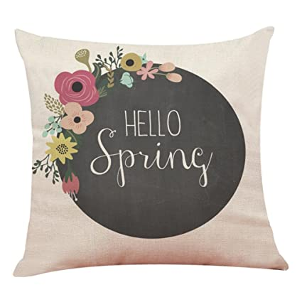 WM & MW 2018 Pillow Cases,Spring Floral Cushion Cover Throw Pillow Covers Home Decor Sofa Car Cushion Case (H)
