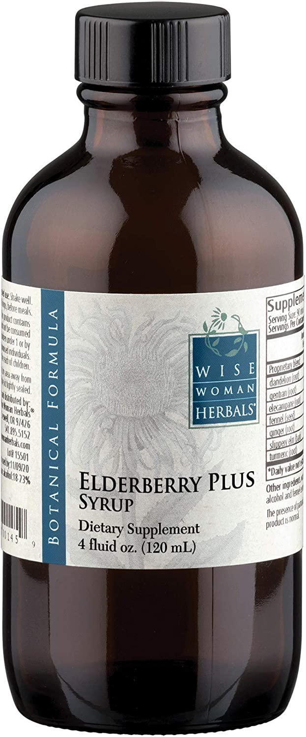 Wise Woman Herbals Elderberry Plus Syrup 4 Oz All-Natural Remedy Boost Immunity, Supports a Healthy Immune System During Cold, Flu and Fever Seasons, Herbal Formula with Echinacea, Zinc, Vitamin C