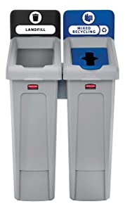 Rubbermaid Commercial Products 2007914 Slim Jim Recycling Station, 2 Stream Landfill/Mixed Recycling