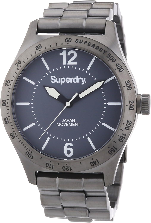 Superdry SYG107EM - Reloj analógico de Cuarzo para Hombre con Correa de Metal, Color Gris