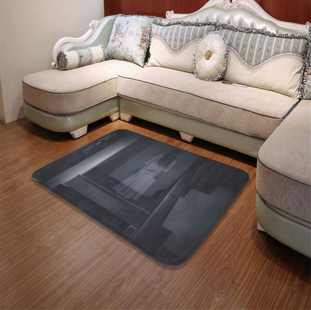 TecBillion Ultra-Soft Mat,Halloween,for Kitchen Living Room,55.12'' x78.74'',Horror Scenery Ghost Girl Figure on