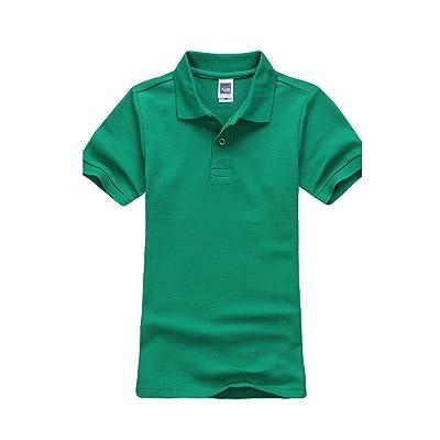 Jueshanzj Boys Polo Shirt Short Sleeve Cotton Basic Tee Pure Color Summer Tops