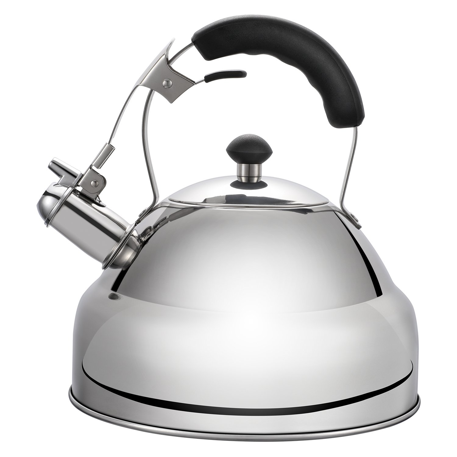 Hiware Good Whistling Tea Kettle for Stovetop with Layered Capsule Bottom Silicone Handle - Rust Resistant Stainless Steel Mirror Finish - 2.8 Quart/FREE Silicone Trivet Mat Included
