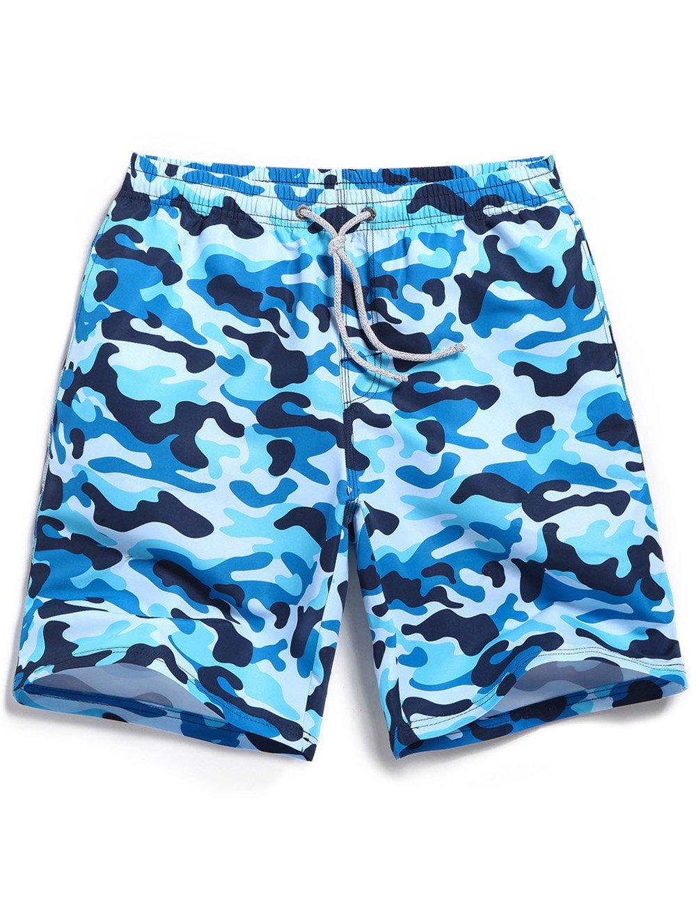 SHENGRUI Men's Swim Trunks Quick Dry Bathing Suits Printed Swim Shorts