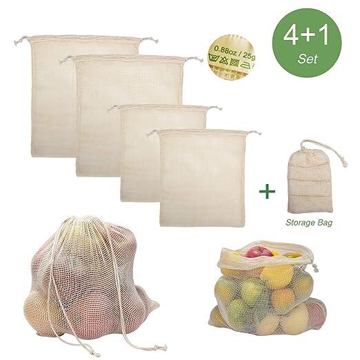 Amazon.com: Bolsas de malla reutilizables de algodón ...