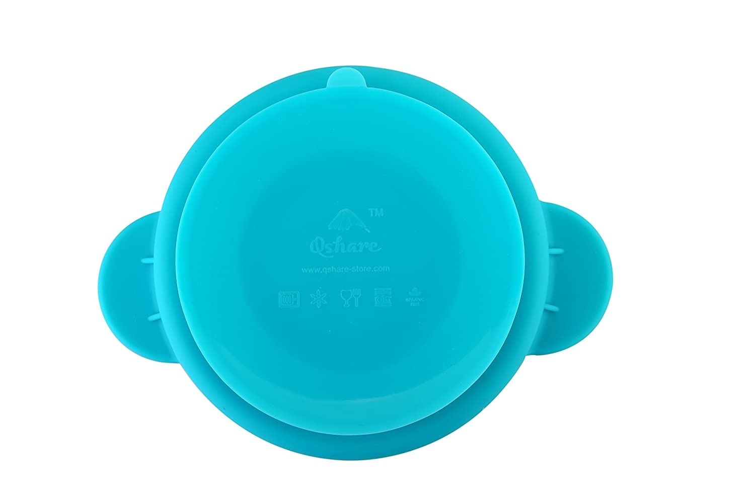 BPA-Free FDA Approved Strong Suction Plates for Toddlers Little-Duck, Blue-Duck Dishwasher and Microwave Safe Silicone Placemat One-Piece Baby Plate for Toddlers and Kids Qshare Toddler Plates