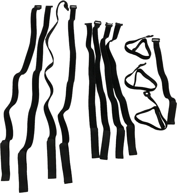Velcro correas con hebilla//ojete f/ósiles construcci/ón, 12 unidades bandas de velcro con hebilla //30 mm de ancho presilla Velcro para jard/ín 4x 120cm, 4x 150cm, 4x 250cm ocio,