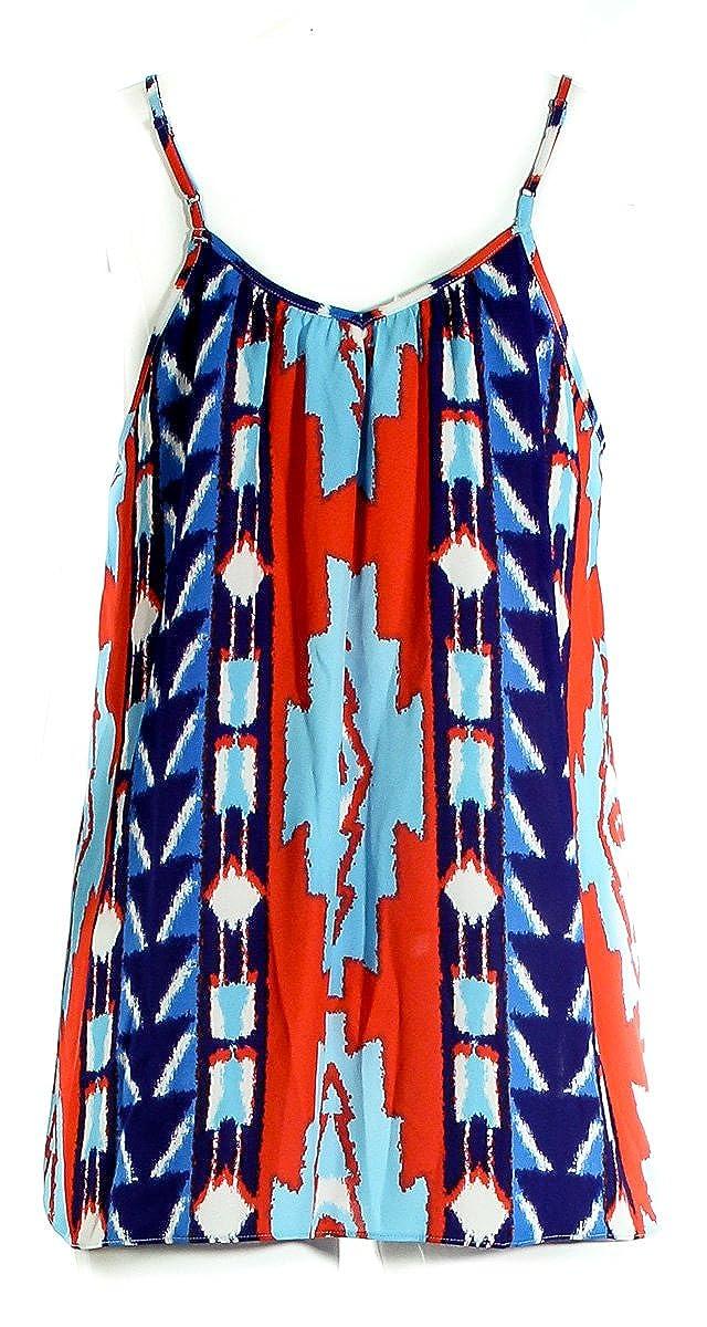 INC International Concepts Red//Multi Totem Pole Ikat Cascade Tank Womens Size 2