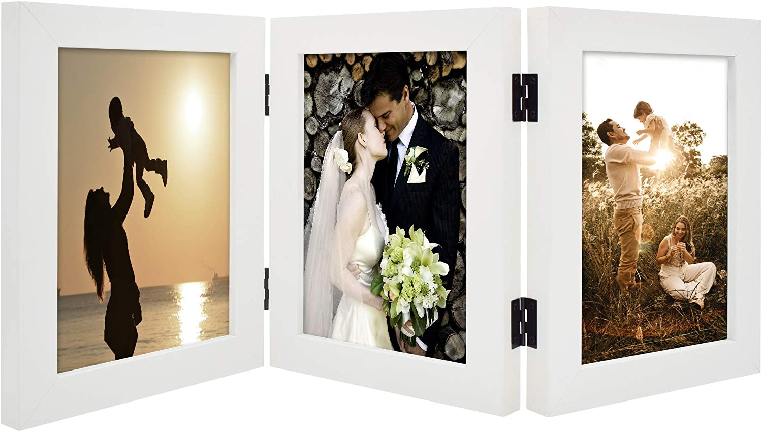 Golden State Art, Decorative Hinged Table Desk Top Picture Photo Frame, 3 Vertical Openings, with Real Glass (5x7 Triple, White, 1-Pack)