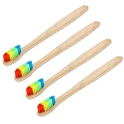 Vococal Cepillo de dientes de bambú natural ecológico 4pcs con cerdas de arco iris Mango ergonómico