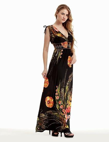BYD Mujeres Vestidos Largo Tallas Grandes V-escote Suelto Bohemio Impreso Maxi Vestido de Playa Cóctel Vacaciones Banquete: Amazon.es: Ropa y accesorios