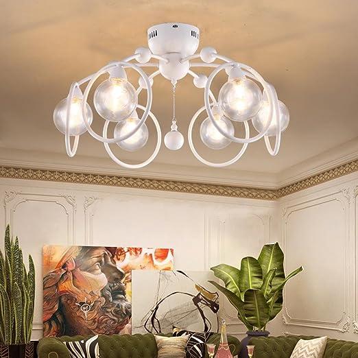 Lampada Da Soffitto Design Moderno Bianco Rotondo Anelli Ciondolo