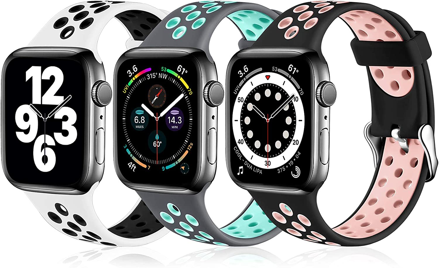 Ouwegaga Compatible for Apple Watch Bands 40mm 38mm Soft Silicone Breathable Air Holes Sport Bands for iWatch Series 6 5 4 3 2 1 SE Women Men Black/Pink White/Black Gray/Teal S/M 3 Pack