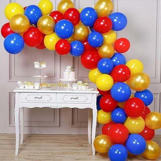 Amazon.com: PartyWoo - Globos de oro rojo, amarillo, azul y ...