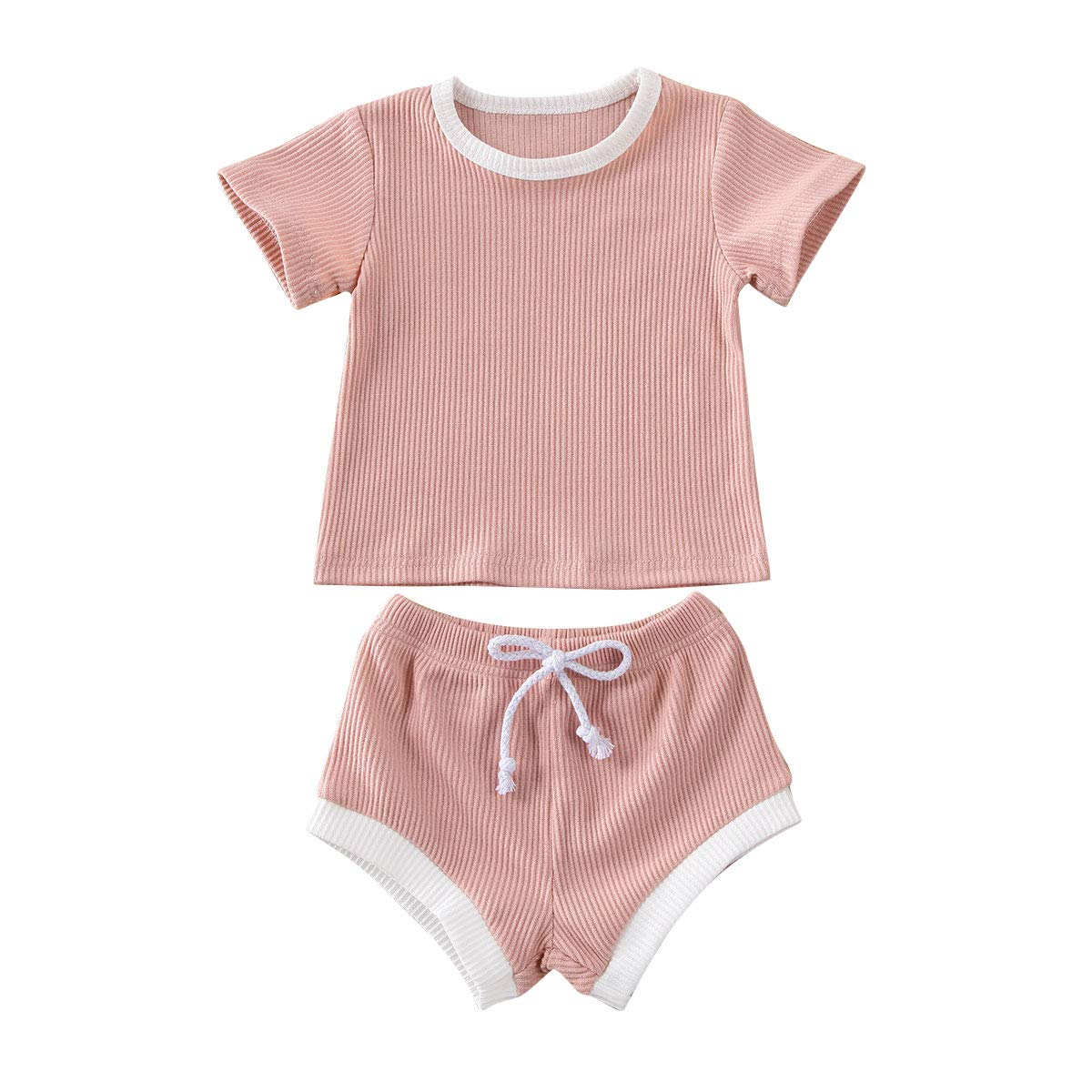 Toddler Baby Boys Girls Ribbed Clothes Sleeveless Tank Tops Drawstring Shorts 2Pcs Solid Outfits Set