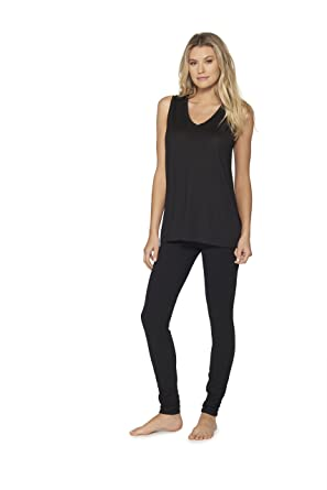 619d26b6d2f3 Barefoot Dreams V Neck Sleeveless Top for Women, Black Modal Loose Soft,  and Comfortable