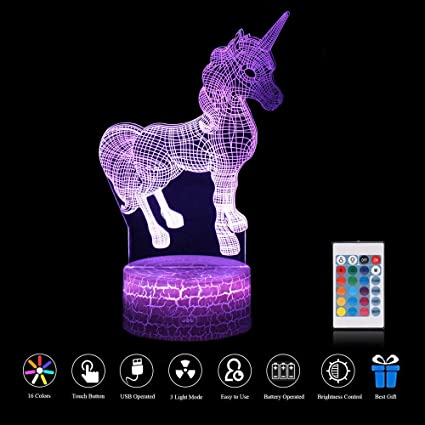 ZD Bright Night Light 3D Illusion Optical Remote Control Touch USB Crack Base LED Lámpara De