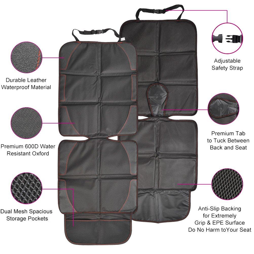QLOUNI Autositzschoner Kindersitzunterlage Schwarz universale Autositzauflage f/ür Kindersitz Wasserdichte Autositzschutz mit Aufbewahrungstasche 116x47cm