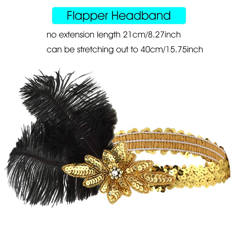 FEPITO 7 PCs 1920s Accessories Set Flapper Headband Necklace Earrings Long Black