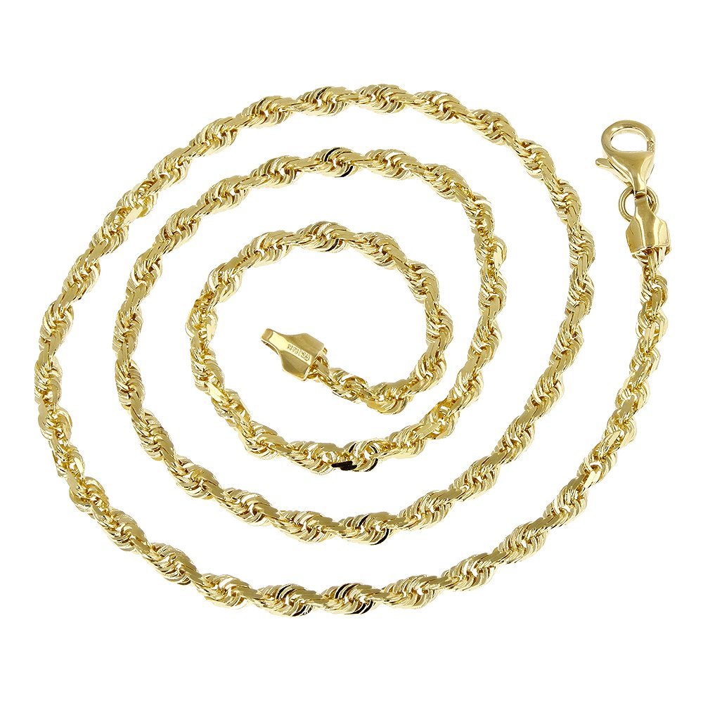 Luxurman Solid 14K Yellow Gold 2.5mm Wide Rope Chain Diamond Cut Bracelet with Lobster Clasp 7'' long