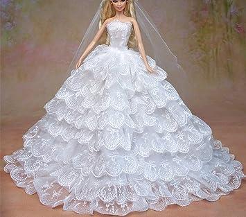 """SG523 Fantasía Hecho a mano Vestido de novia el 11,5 """" para barbie"""